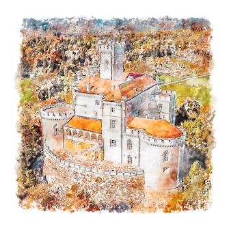 トラコシチャン城クロアチア水彩スケッチ手描きイラスト