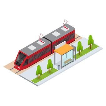 Трамвай и остановка изометрическая проекция пассажирского общественного транспорта для веб-сайтов и приложений. векторная иллюстрация