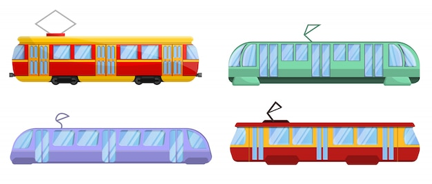 Tram car icons set, cartoon style