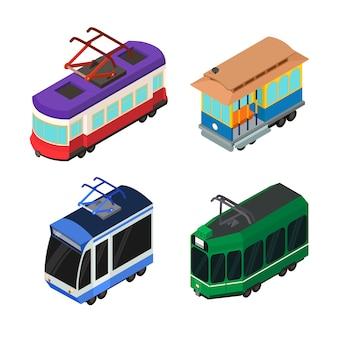 Tram car icons set