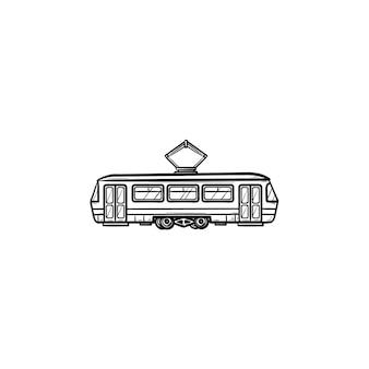 Трамвай рисованной наброски каракули значок. общественный транспорт, трамвай и городской рельсовый транспорт, концепция трамвайных путей