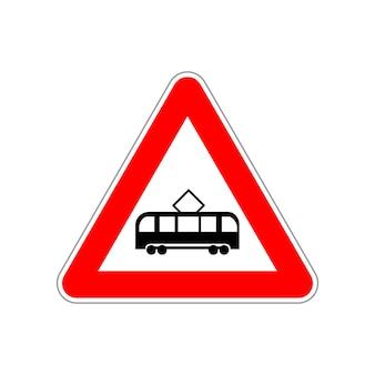 Значок трамвая на треугольник красный и белый дорожный знак на белом