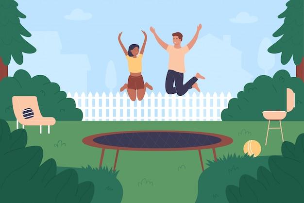 Семья прыжки на батуте иллюстрация. мультяшные плоские молодые люди прыгают, веселятся вместе, активные счастливые прыгуны высоко подпрыгивают на батуте. летний отдых на свежем воздухе фон.