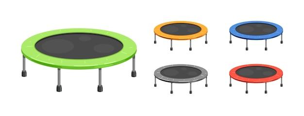 Батут для детей и взрослых для занятий фитнесом в помещении или на открытом воздухе, прыжки в разные цвета иллюстрации