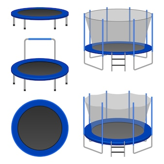 Trampoline icon set, realistic style
