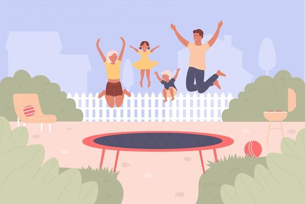 トランポリンジャンプイラスト。漫画の平らな家族の人々がジャンプして一緒に楽しんでいます。アクティブな幸せなジャンパーキャラクターがトランポリンで高く跳ねています。