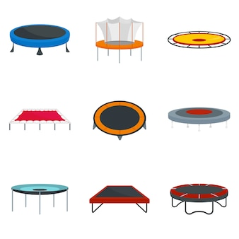 Trampoline jumping park joy icons set