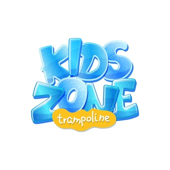 Trampoline kids zone advertising banner or poster design for children sport playground or entertainment park, cartoon  isolated on white background.