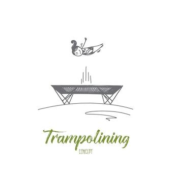 Иллюстрация концепции прыжков на батуте