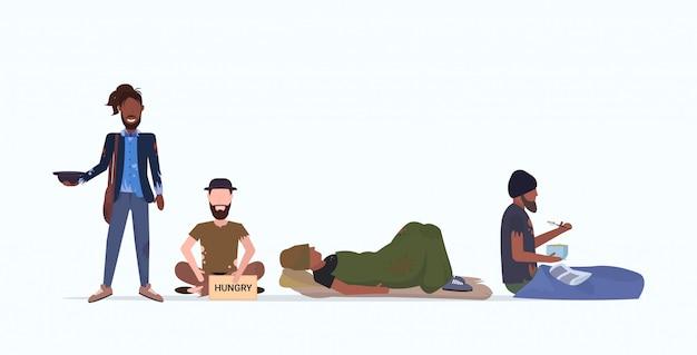 お金を必要とする貧しいホームレスキャラクターを踏みにじる乞食グループ助け失業ホームレス失業コンセプトフラット全長水平 Premiumベクター