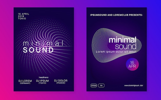 Trance event. commercial discotheque banner set. dynamic gradient shape and line. neon trance event flyer. techno dj party. electro dance music. electronic sound. club fest poster.