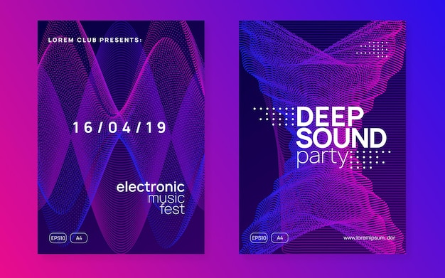 Trance event. dynamic gradient shape and line. digital show invitation set. neon trance event flyer. techno dj party. electro dance music. electronic sound. club fest poster.