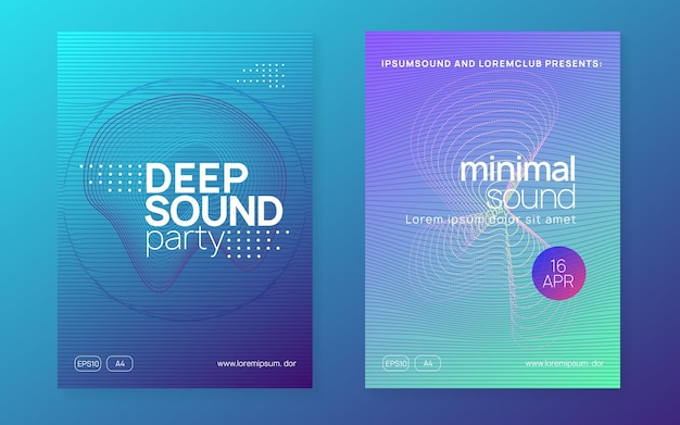 Trance party. bright concert invitation set. dynamic fluid shape and line. neon trance party flyer. electro dance music. electronic sound. club dj poster. techno fest event.