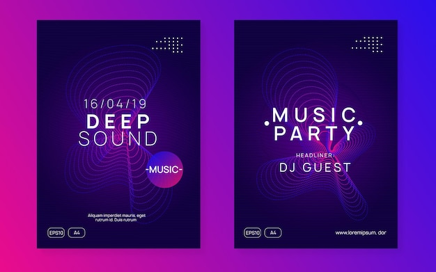 Trance party. dynamic gradient shape and line. digital discotheque invitation set. neon trance party flyer. electro dance music. electronic sound. club dj poster. techno fest event.