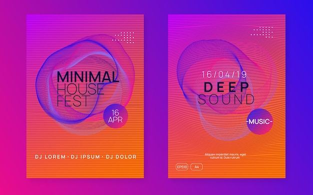 Trance party. trendy show invitation set. dynamic gradient shape and line. neon trance party flyer. electro dance music. electronic sound. club dj poster. techno fest event.