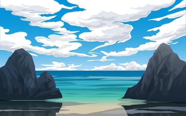 바위와 흐린 날이있는 고요한 해변 풍경
