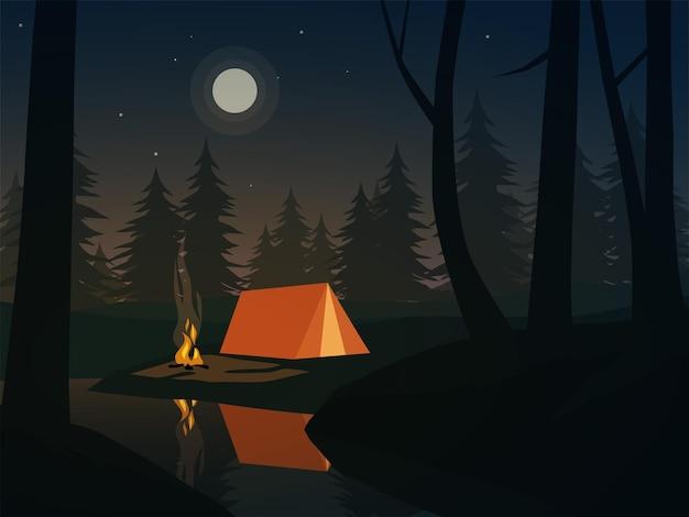 川とキャンプのある森の静かな夜