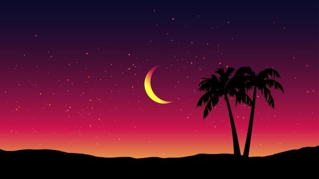 Спокойный ночной пейзаж с пальмами и полумесяцем