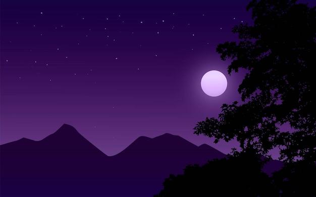 Спокойная ночная сцена с горой и луной