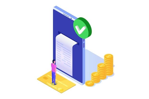 承認されたトランザクション、金融トランザクション、非現金支払い、通貨、支払いnfcアイソメトリックコンセプト。
