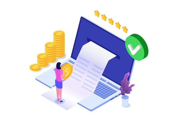 Транзакция одобрена, финансовые операции, безналичный расчет, денежная валюта, платеж изометрическая концепция nfc.