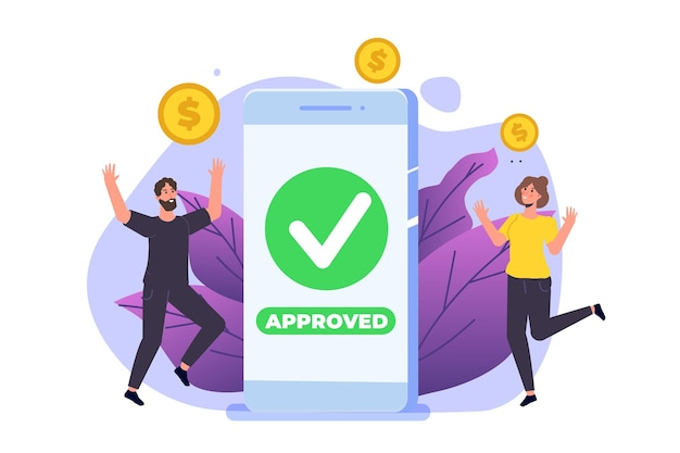 Transaction approved on smartphone Premium Vector