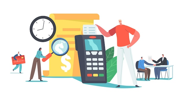 Transaction pay history concept. tiny characters read bill at huge credit card reader machine or pos terminal. contactless payment, cashless paying technologies. cartoon people vector illustration