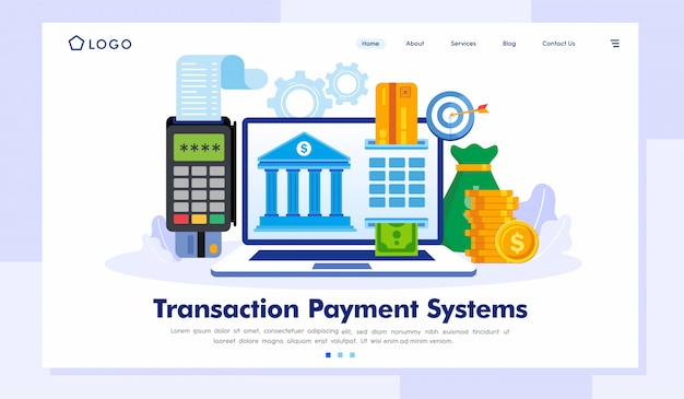Transaction payment systems landing page website vector template
