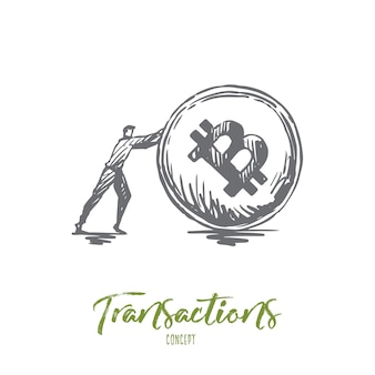 Transactions, payment, finance, digital, electronic concept. hand drawn businessman and cryptocurrency coin concept sketch.