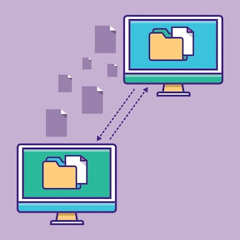 Transfer of documentation folders with paper files  program for remote connection b