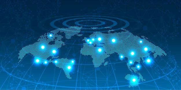 Глобальный элемент передачи, точка планеты земля, черный фон Premium векторы