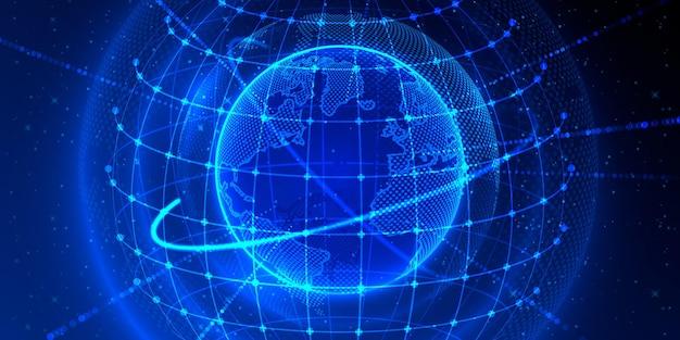 Глобальный элемент передачи, точка планеты земля, черный фон