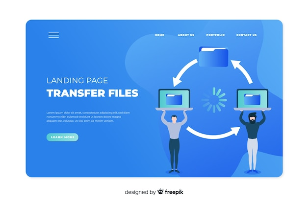 Transfer files concept for landing page