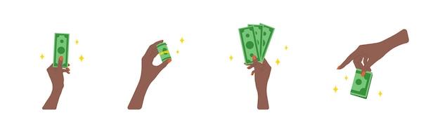 送金。緑の請求書を与えるアフリカの女性の手。