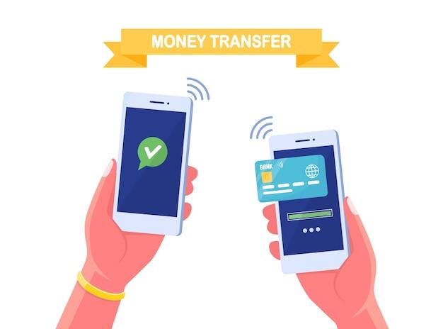 Перевод денег по мобильному телефону. банковская транзакция с помощью цифрового кошелька. человеческие руки держат смартфон с кредитной, дебетовой картой на экране. удобная концепция оплаты. мультфильм дизайн