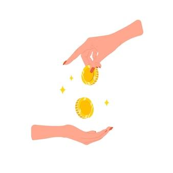 送金。金貨を与える女性の手。