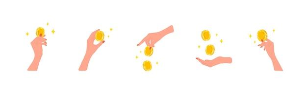 돈을 이체합니다. 황금 동전을 주는 여성 손. 기부, 자선 또는 월급날 개념.