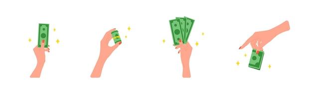 돈을 이체합니다. 녹색 지폐를 주는 여성의 손.