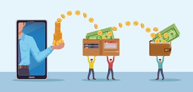 Перевод денег онлайн наличными монетами со смартфона в кошелек крошечные люди носят гигантские кошельки вектор