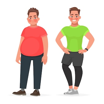 Transformation of the male body. slimming and dieting. before and after playing sports.fat and sporty man. concept of healthy proper nutrition. in cartoon style