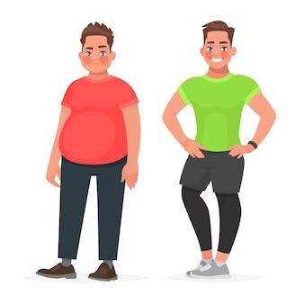 男性の体の変容。痩身とダイエット。スポーツをする前と後。太ってスポーティーな男。健康的な適切な栄養の概念。漫画のスタイルで
