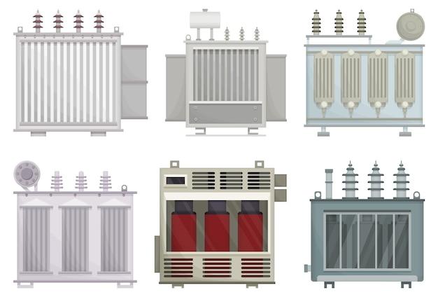 白い背景の上の変圧器の電気設備。