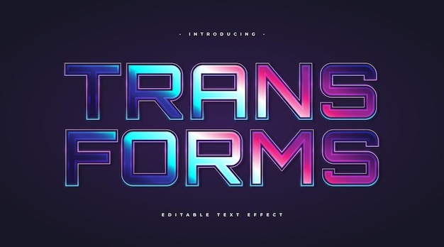 Transforms text in colorful style with glowing effect. editable text style effect
