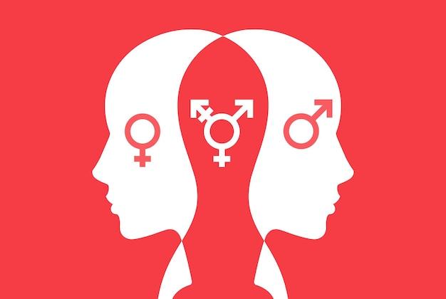 트랜스젠더 남자. 자신의 성별을 선택합니다. 심리적 장애. 평면 벡터 일러스트 레이 션