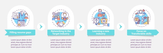 Transition career benefits vector infographic template. pluses in job searching presentation design elements. data visualization with 4 steps. process timeline chart. workflow layout with linear icons