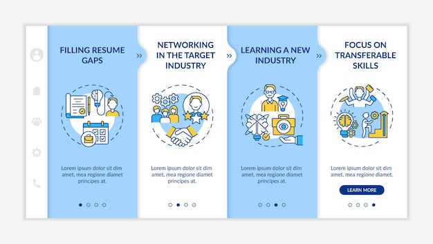 Transition job pros onboarding mobile app page screen with concepts. transition benefits walkthrough 4 steps graphic instructions. ui, ux, gui vector template with linear day mode illustrations