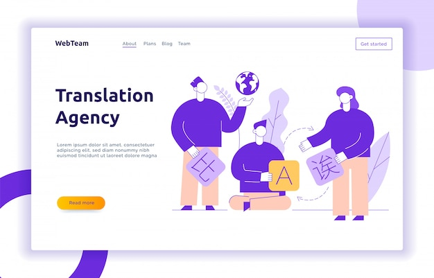 Translation design concept banner