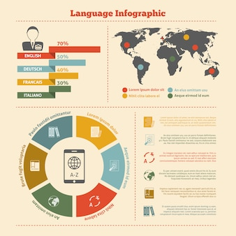 Translation and dictionary infographic template