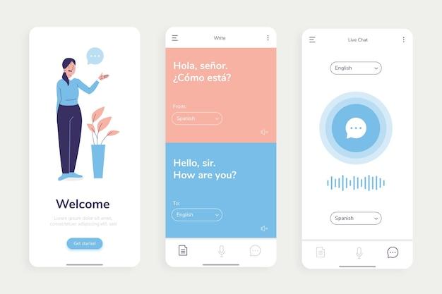 Translator app screens