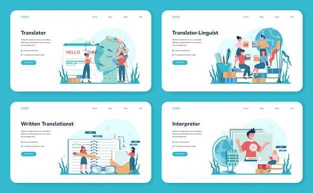 Translator and translation service web banner or landing page set. polyglot translating document, books and speach. multilanguage translator using dictionary.